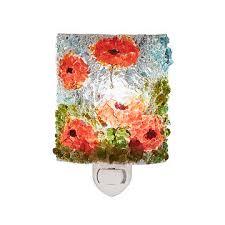 recycled glass poppies nightlight