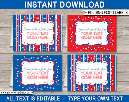 Editable 4th July Party Food Labels Place Cards 4th July Theme