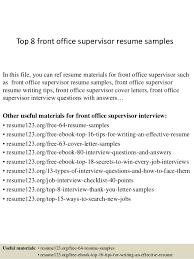 Front Desk Supervisor Resume Fiveoutsiders Com