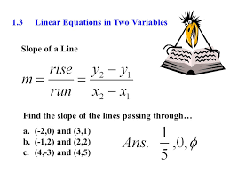 1 3 linear equations in two variables