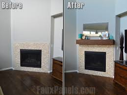 before and after photo of a faux fireplace mantel installed