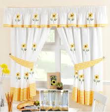 Sunflower Curtains For Kitchen Sunflower Yellow White Voile Cafe Net Curtain Panel Kitchen