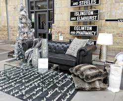 The Industrial Shimmer collection really caught my eye. I loved the tufted  Fillmore Sofa which is actually a polyurethane upholstery in a smoky grey.