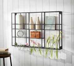 metal wall shelves wall shelf unit with glass rack pottery barn simple design decor