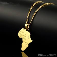 trendy men gold silver africa map pendant necklaces fashion jewelry for 18k gold plated 60cm long chain micro hip hop rock mens mens necklace pendants for