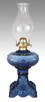 medium blue princess feather kerosene oil lamp