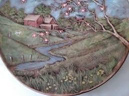 art ceramic wall plaque farm house scene barn apple blossom blue birds 13 wall