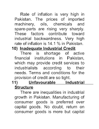 causes and removal of industrial backwardness in   inflationary pressures 7 rate of inflation