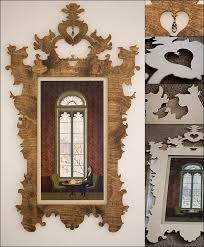 custom laser cut plywood wall frame in its finished and unfinished stages