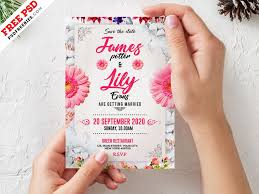 wedding invitation card template psd by
