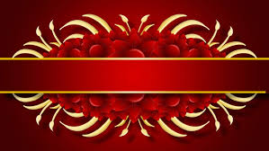 growing golden title frame and flowers on red background hd cg animation