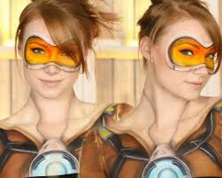 overwatch tracer makeup tutorial clothes painted on