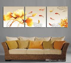 2018 oil painting picture print on canvas 3 panel wall art painting golden lotus nine fish print on canvas from chinaart2013 18 7 dhgate com on lotus panel wall art with 2018 oil painting picture print on canvas 3 panel wall art painting