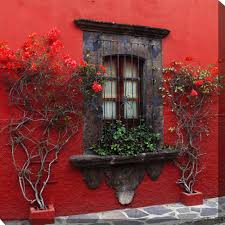 roses in red outdoor wall art