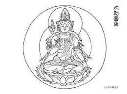 弥勒菩薩の塗り絵の下絵画像