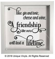 like gin and tonic cheese and wine vinyl sticker for friend friendship gift unbranded novelty birthday