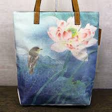 chinese watercolor fl painting canvas tote bag lotus