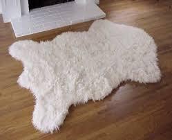 get ations fake alaskan polar bear faux fur accent rug white 3 x5 new