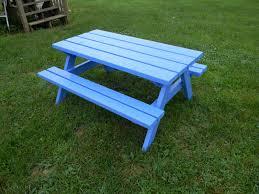 kid picnic table blue
