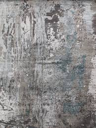 luur luxury handknot rug in grey and blue overhead