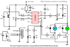 building your own simple laser projector using the microchip pwm signal base on the pic12f683 microcontroller timer0 peripheral the following is the complete electronic schematic for the laser projector project