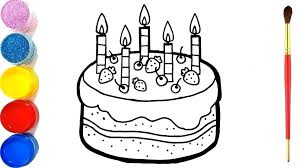 How To Draw Cake For Kids How To Draw A Birthday Cake Art For Kids