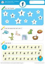 Grab your crayons and let's color! Letter Recognition Phonics Worksheet F Lowercase Super Simple