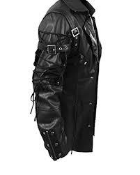 jacketsmens real black leather goth matrix trench coat steampunk gothic t18 blk prev