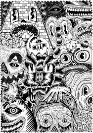 Free Coloring Page Coloring For Adult 7 Warning Scary Coloring Or