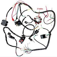 amazon com complete wiring harness kit wire loom electrics stator complete wiring harness kit wire loom electrics stator coil cdi for 150cc 300cc atv quad 4 four wheelers go kart dirt pit bikes 3 fixing holes