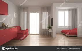 Kleine Wohnung Mit Küche Wohnzimmer Und Schlafzimmer Weiß Und