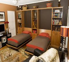 two twin wall beds in home office eclectic home office
