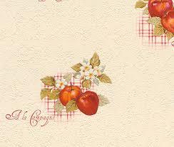rasch apples vinyl kitchen wallpaper 824506 cream