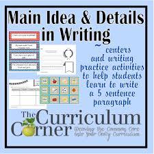 Paragraph Writing Main Idea Details Focus The