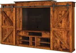 amish teton barn door wall tv unit angle view