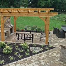 paver patio with pergola. Paver Walkway; Techo-bloc Patio, Pergola And Outdoor Fireplace Patio With