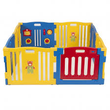kidzone baby playpen kids 8 panel safety play center yard home indoor outdoor pen blue and yellow