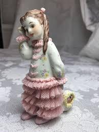 "Irish Dresden Porcelain Wendy Little Girl with Her Doll Figurine MZ Dresden  4"" #IrishDresden | Dresden porcelain, Little girls, Dresden"
