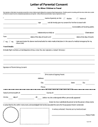 Sample Letter Of Consent To Travel 133 Printable Letter Of Consent For Travel Of A Minor Child Forms