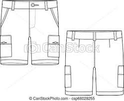 Shorts Design Template Technical Sketch Cargo Shorts Pants Design Template