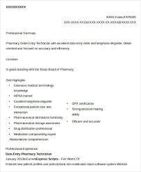 Pharmacy Data Entry Technician Resume Example