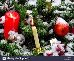 Cemetery Christmas Tree With Lights Candles Light Fir Branch Fir Green Snow Balls Sphere