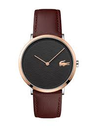 lacoste 2010952 mens watch brown leather strap moon image 1