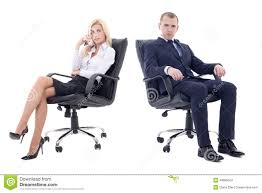 office furniture women. Young Business Man And Beautiful Woman Sitting On Offic Office Furniture Women