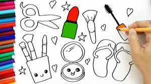 drawing coloring cute makeup how to draw cute cosmeticakeup bodraw