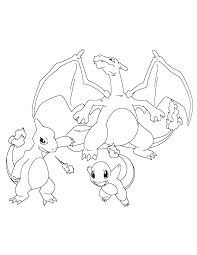 Pokemon Paradijs Kleurplaat Charizard Charmeleon En Charmander