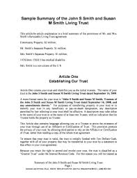 revocable living trust sample fill online printable fillable  revocable living trust sample