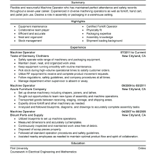 Heavy Machine Operator Resume Modeladviceco