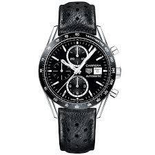 tag heuer tag heuer carrera 41mm black dial leather strap chronograph watch