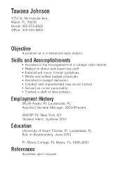 Undergraduate College Resume Template Recent Graduate Resume Objective Airexpresscarrier Com